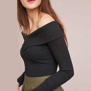 Anthropologie Lucy off shoulder black knit top